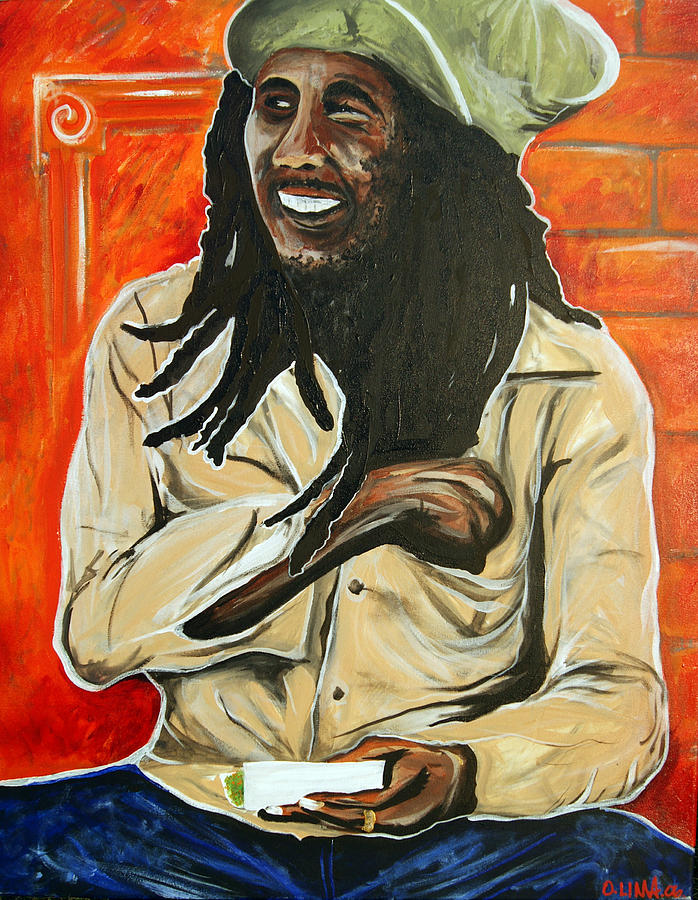 Bob Marley Painting - Picture Bob Rolling by Ottoniel Lima