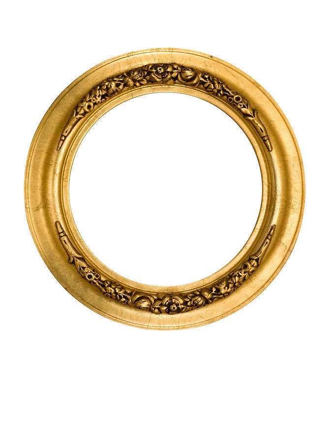 Picture Frame Round Circle in Gold, Fancy, Elegant, White Isolated Photograph by Catnap72