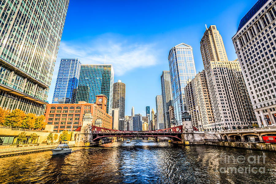 America Photograph - Picture Of Chicago At Lasalle Street Bridge by Paul Velgos