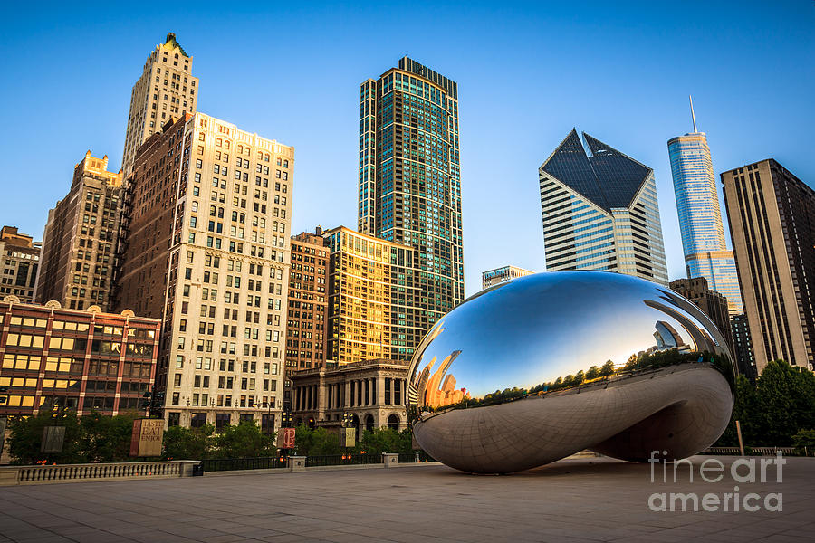 Anish Photograph - Picture of Cloud Gate Bean and Chicago Skyline by Paul Velgos