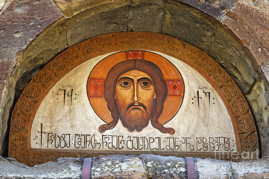 Jesus Photograph - Picture Of Jesus Inside The Tsminda Sameba Cathedral Tbilisi by Robert Preston
