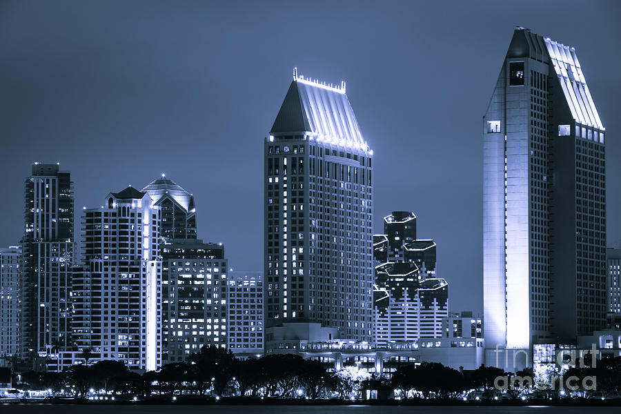 2012 Photograph - Picture Of San Diego Night Skyline by Paul Velgos