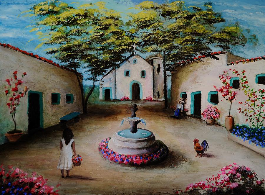 Spanish Village Painting - Picturesque Spanish Village by Stefon Marc Brown