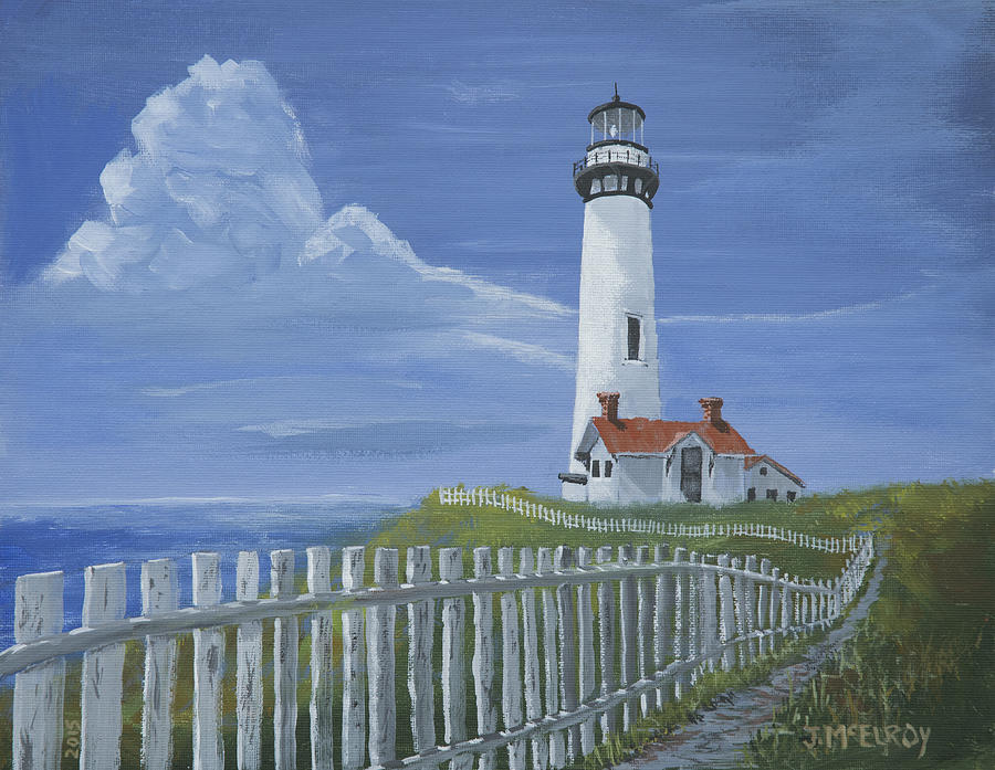 Coast Guard Painting - Pigeon Point Lighthouse by Jerry McElroy