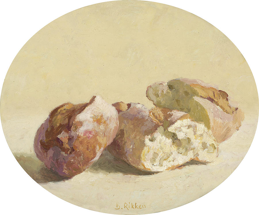 Food Painting - Pieces of Baguette by Ben Rikken