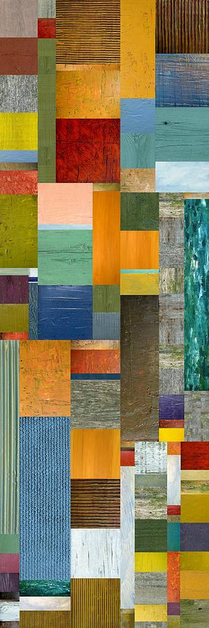 Multicolored Painting - Pieces Parts V by Michelle Calkins