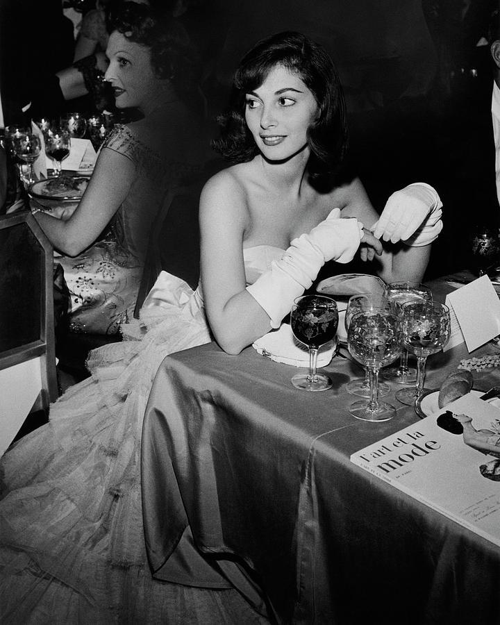Pier Agnelli Wearing An Evening Gown At A Ball Photograph by Nick De Morgoli