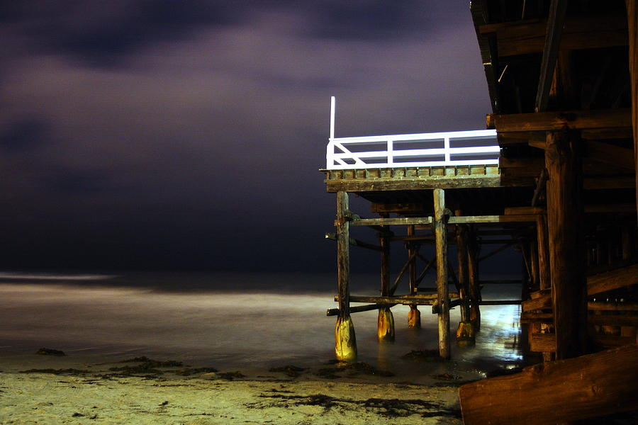Pacific Beach Photograph - Pier At Night - 2 by Carrie Warlaumont