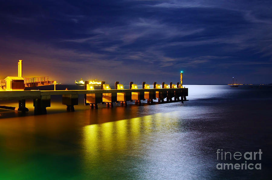 Atmosphere Photograph - Pier At Night by Carlos Caetano