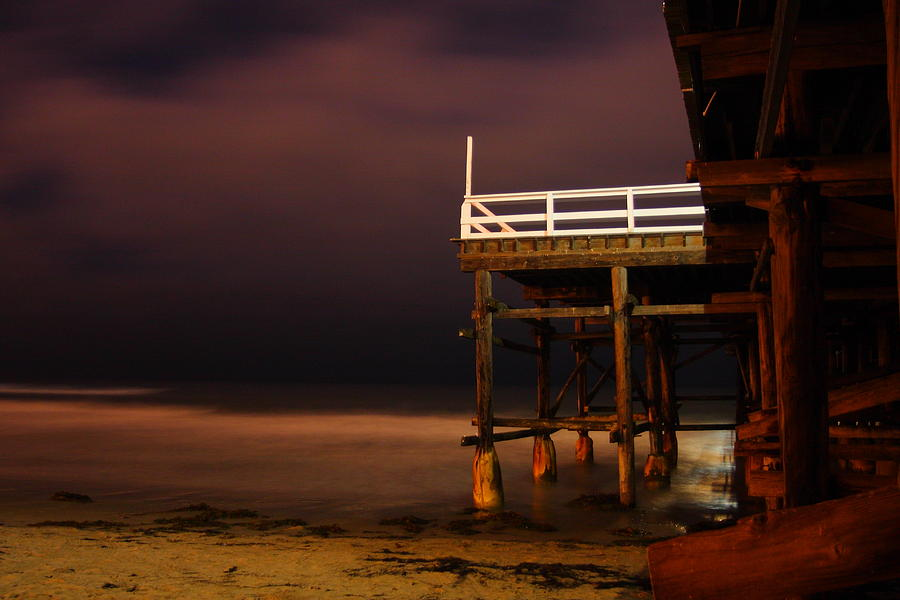 Night Photograph - Pier At Night by Carrie Warlaumont