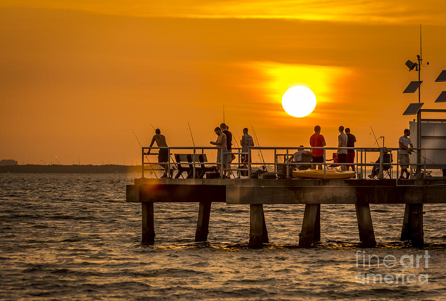 Sunset Photograph - Pier Fishing by Marvin Spates