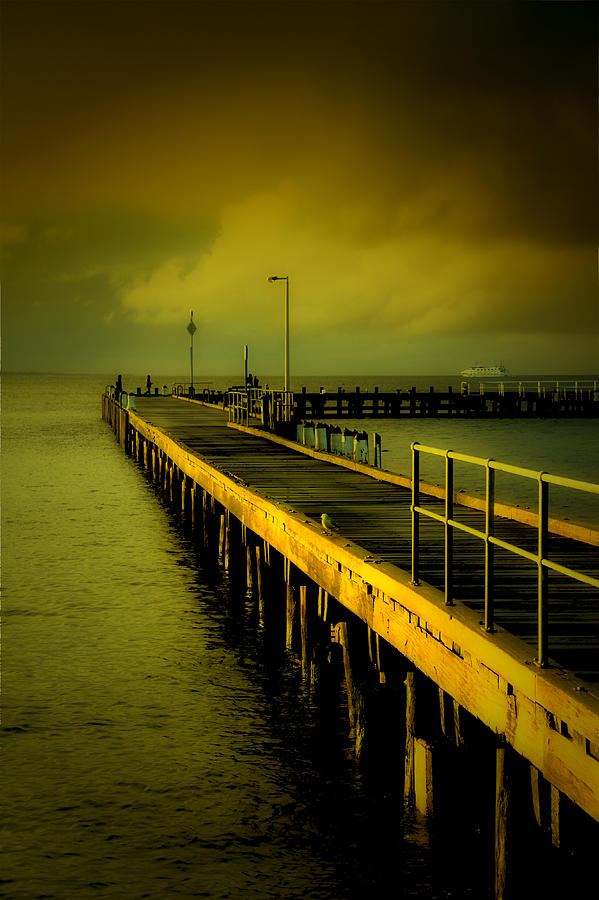 Sunset Digital Art - Pier Glow by John Monteath