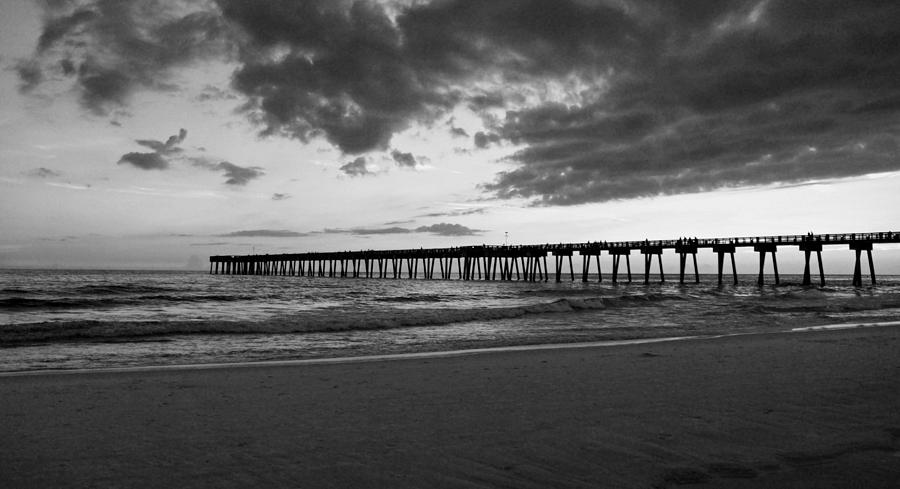 Pier Photograph - Pier In Black And White by Sandy Keeton