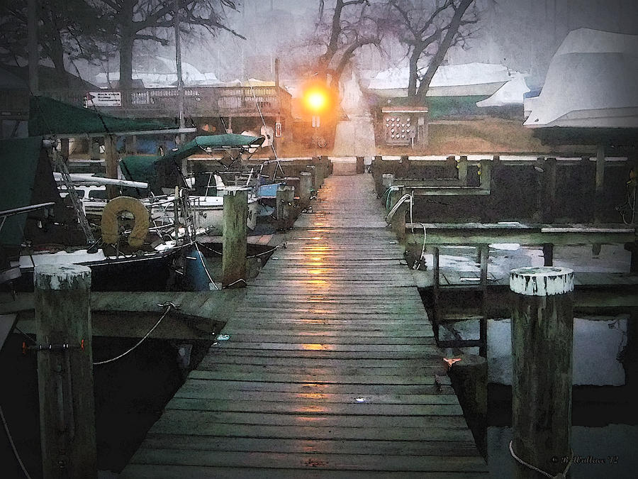 2d Photograph - Pier Light - Watercolor Effect by Brian Wallace
