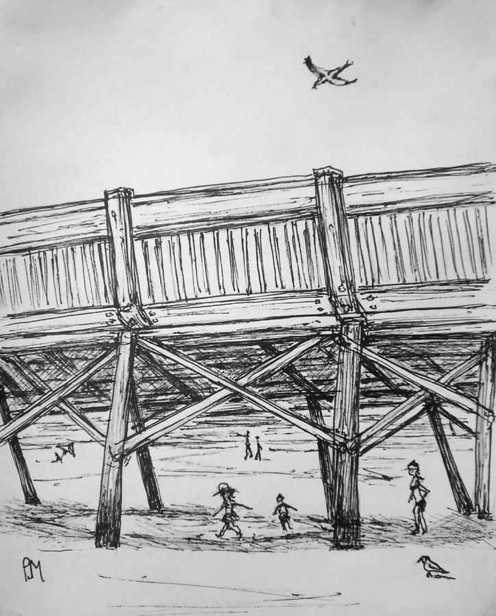 Beach Drawing - Pier Pressure by Pete Maier