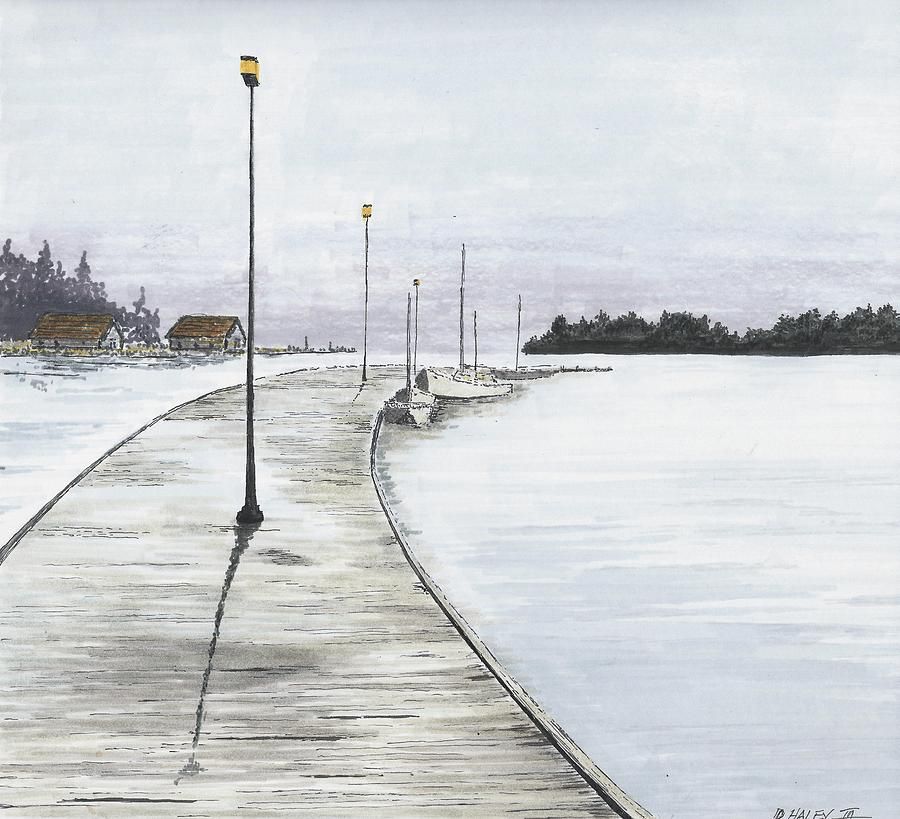 Pier Drawing - Pier Solitude by Dan Haley