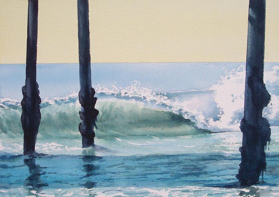 Wave Painting - Pier Wave by Philip Fleischer