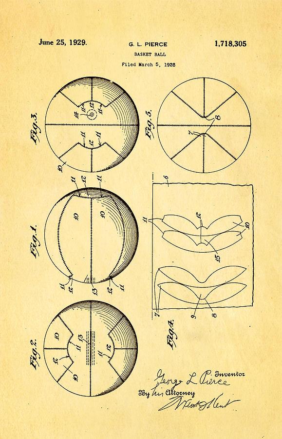 Basket Ball Photograph - Pierce Basketball Patent Art 1929 by Ian Monk