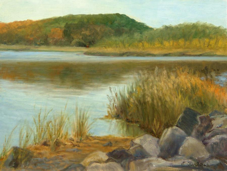 Landscape Painting - Piermont Shoreline by Phyllis Tarlow
