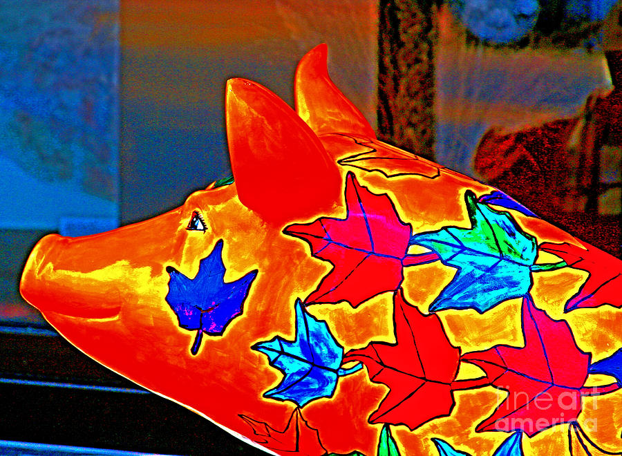 Pig Photograph - Pig Art Statuary Head Leaves by Margaret Newcomb