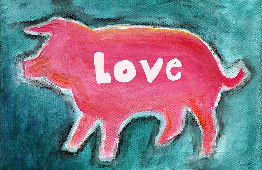Abstract Painting Painting - Pig Love by Linda Woods