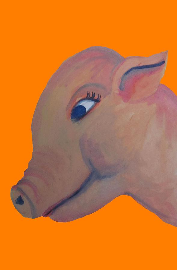 Cute Pig Painting - Pig On Orange by Cherie Sexsmith