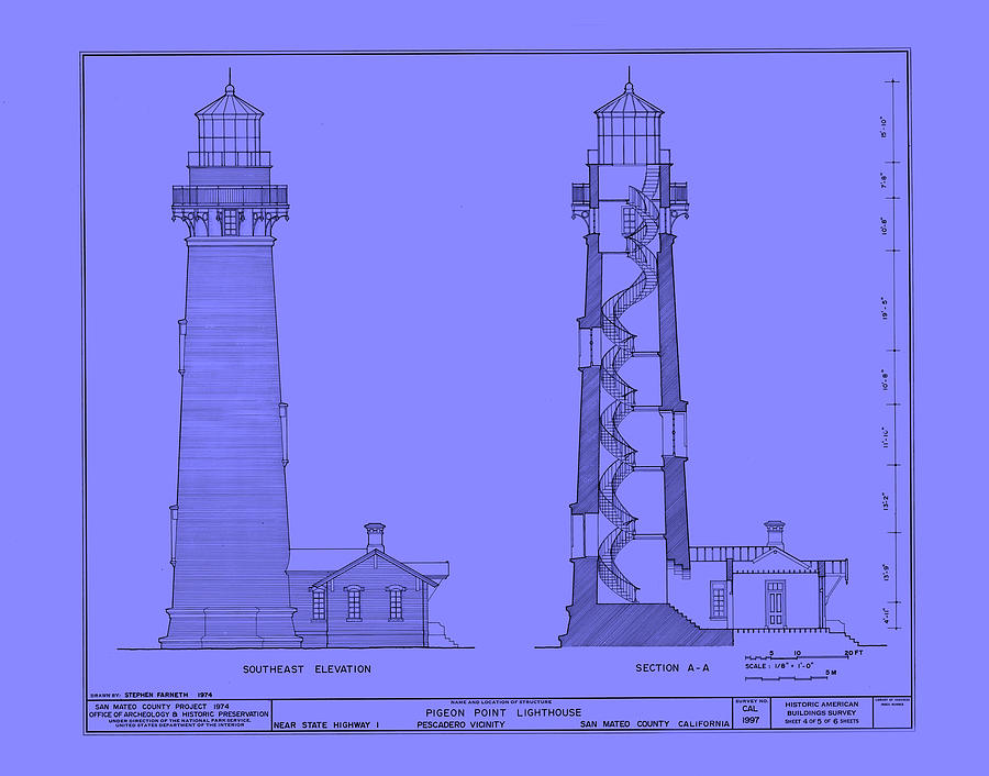 Pigeon point lighthouse plan california drawing by Lighthouse home floor plans