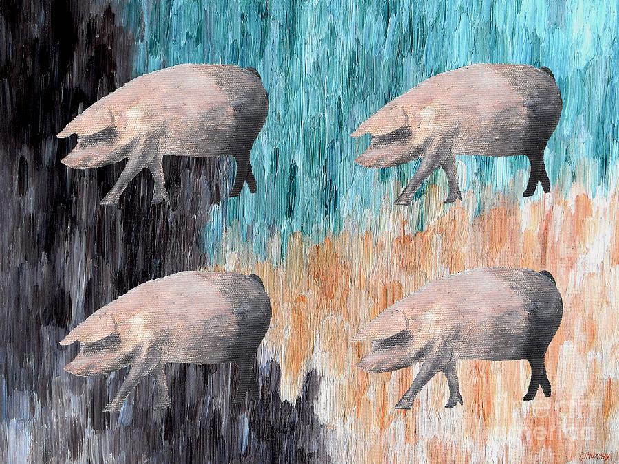Piggies Painting - Piggies by Patrick J Murphy