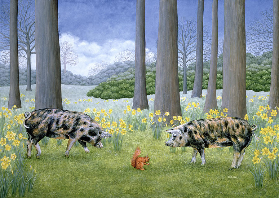 Pig Painting - Piggy In The Middle by Ditz