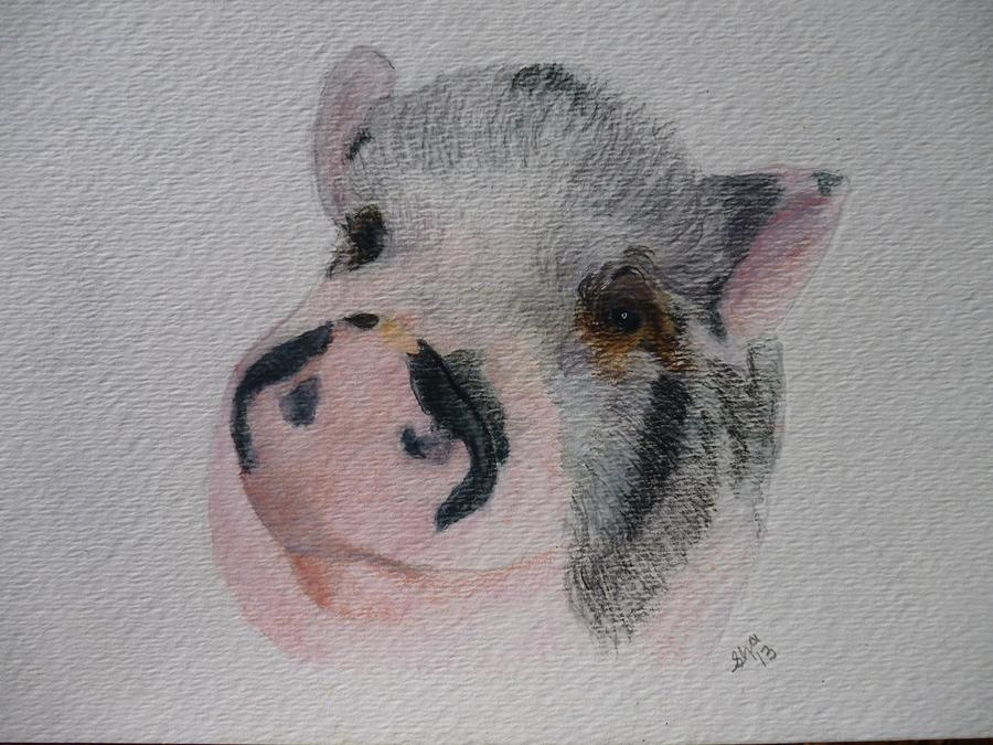 Pig Painting - Piggy Pet Portraits Original Watercolor Memorial Made To Order by Shannon Ivins