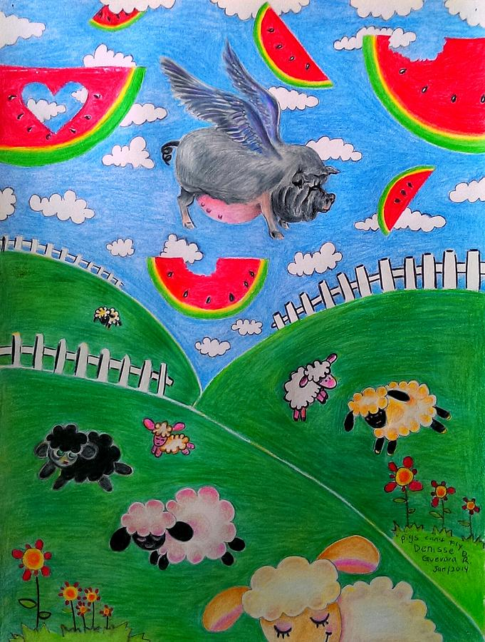 Pigs Drawing - Pigs Cant Fly by Denisse Del Mar Guevara