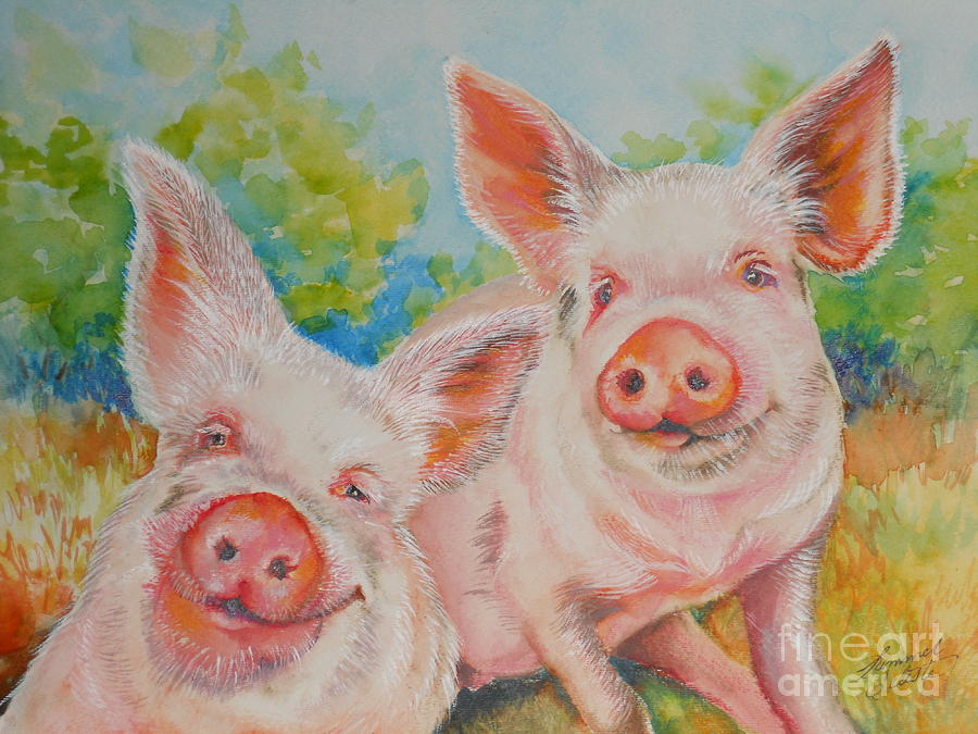 Pig Painting - Pigs Pink And Happy by Summer Celeste