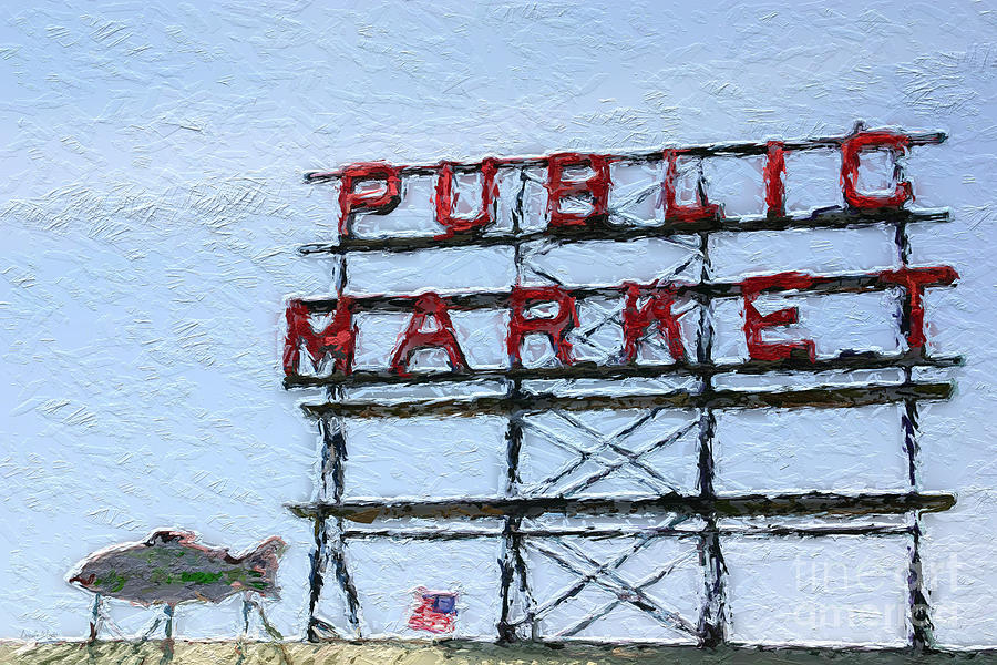 Seattle Painting - Pike Place Market by Linda Woods