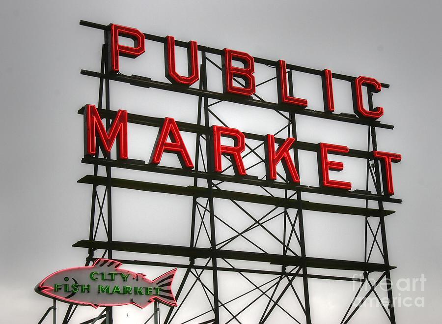 Pike Place Public Market Sign Photograph