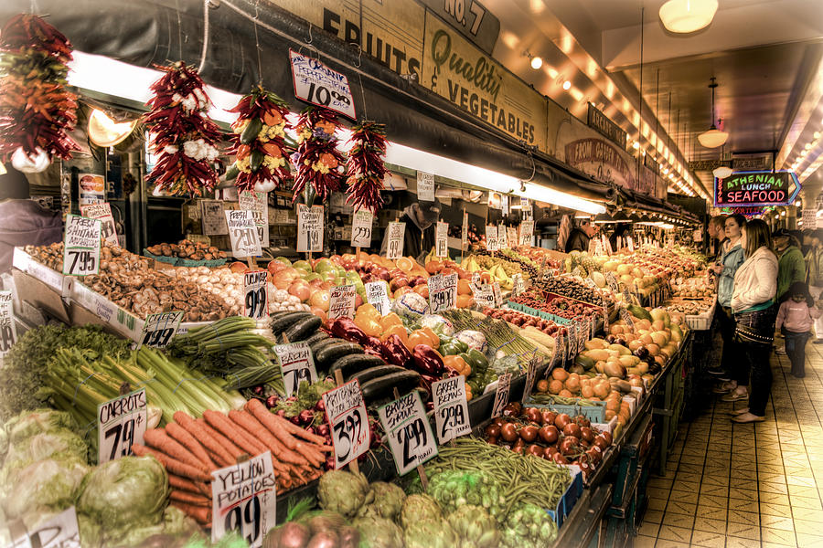Seattle Photograph - Pike Place Veggies by Spencer McDonald