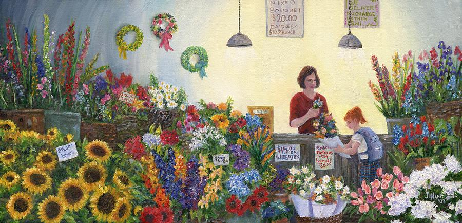 Pikes Painting - Pikes Flower Market by June Hunt