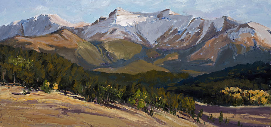 Rocky Mountains Painting - Pikes Peak Panoramic by Mary Giacomini