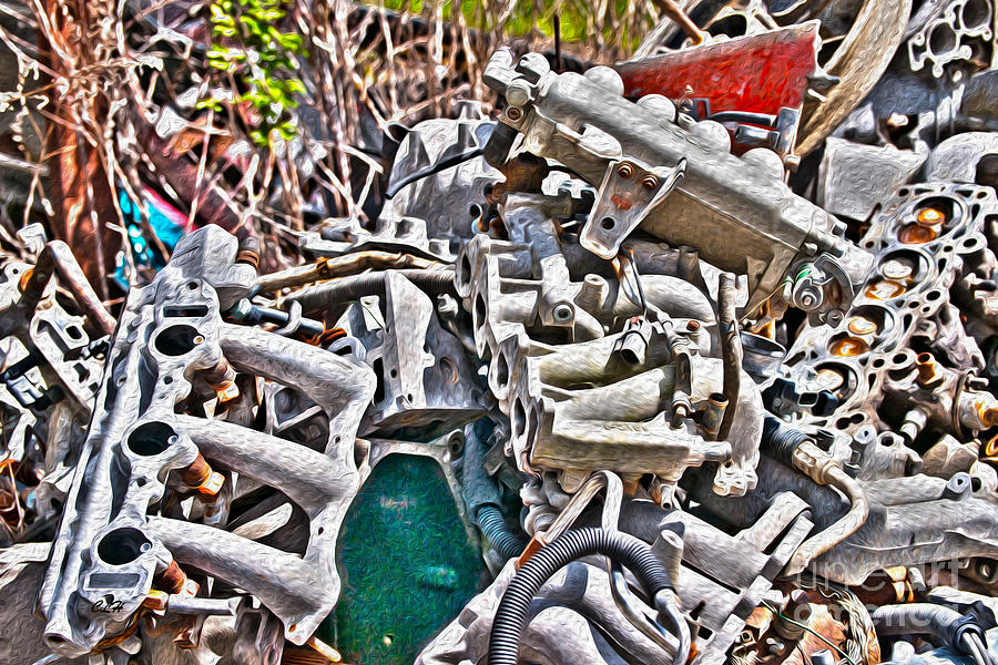 Vehicle Photograph - Piles Of Engines - Automotive Recycling by Crystal Harman