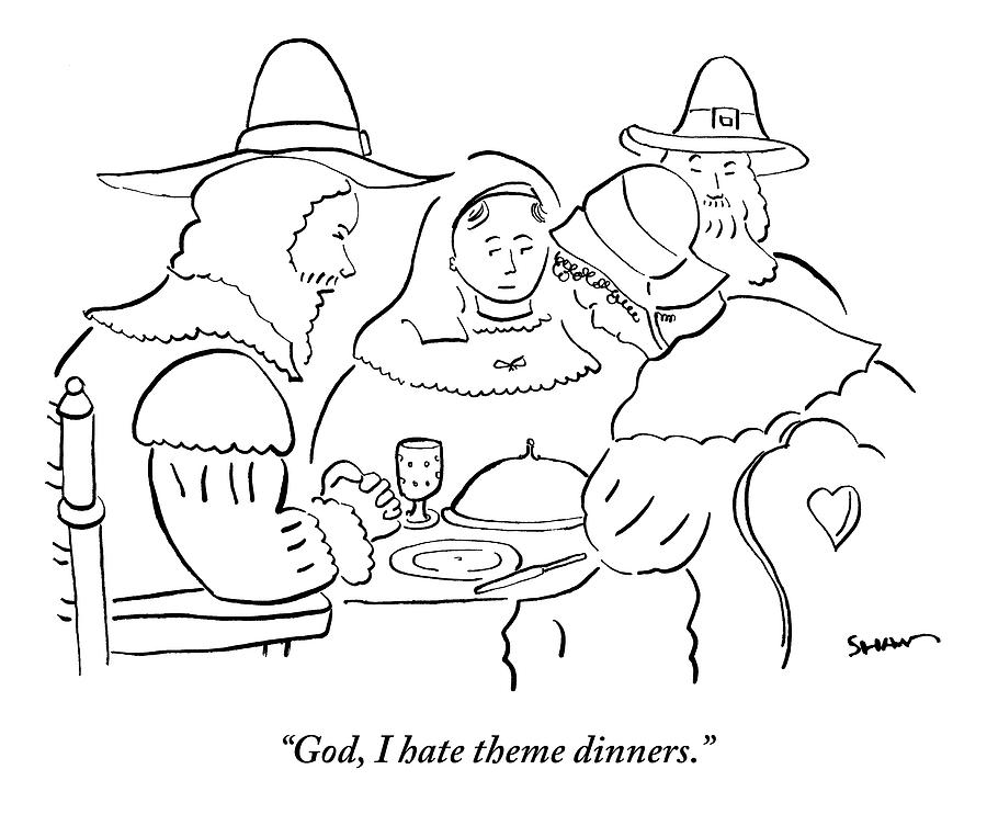 table top coloring pages | Pilgrims At Thanksgiving Dinner Table Drawing by Michael Shaw