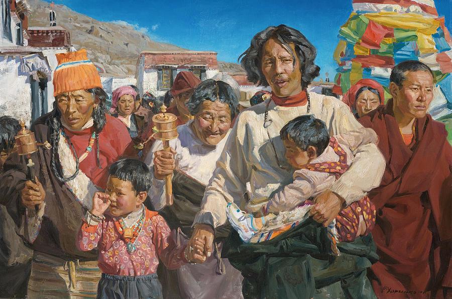 Tibet Painting - Pilgrims by Victoria Kharchenko