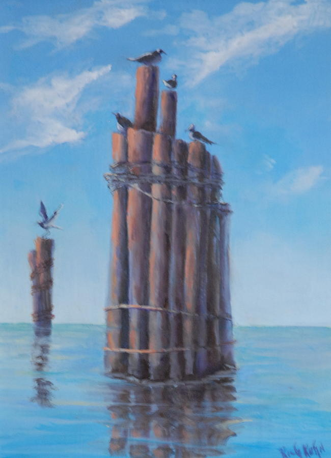 Seascape Painting - Pilings   by Rich Kuhn