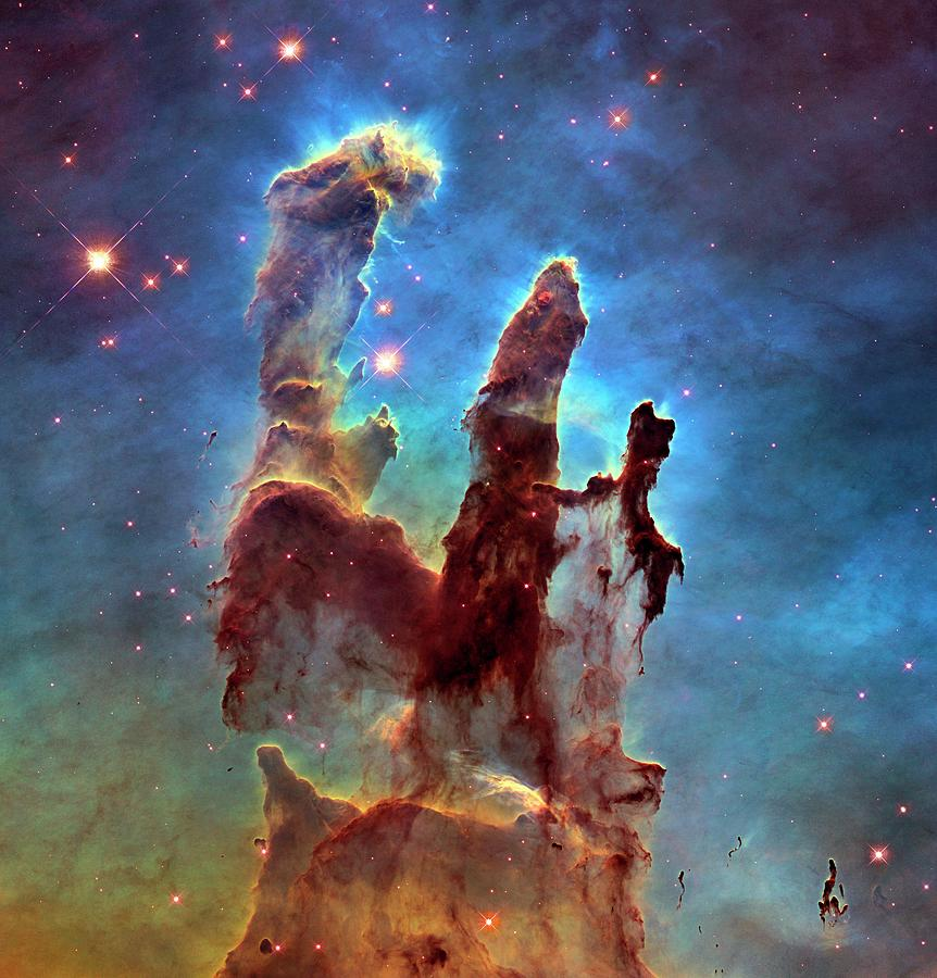 Pillars Of Creation Photograph - Pillars Of Creation In Eagle Nebula by Nasa, Esa, And The Hubble Heritage Team (stsci/aura)/science Photo Library