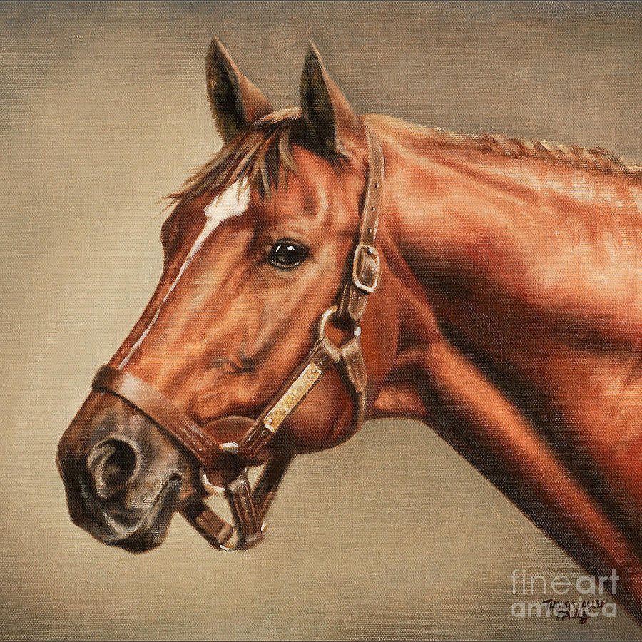 Tags Painting - Pillow - Secretariat At Claiborne by Thomas Allen Pauly