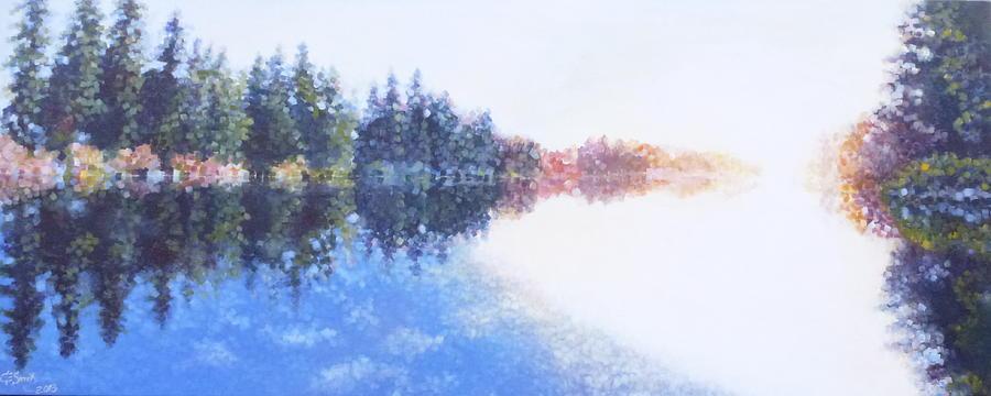 Washington Lake Painting - Pine Lake Reflection by Charles Smith