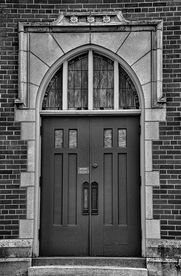 Pine Street Church Entrance Bw Photograph