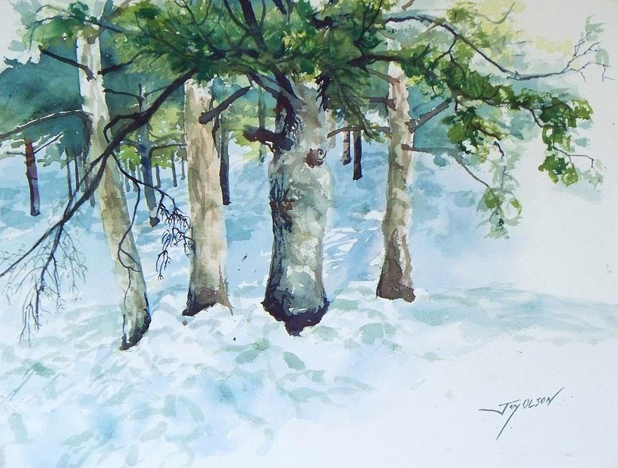 Pine trees and snow painting by joy nichols - Images of pine trees in snow ...
