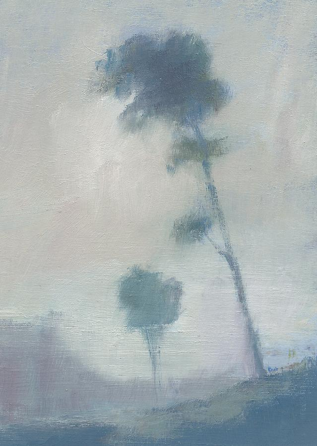 Oil Sketch Painting - Pine Trees Through The Twilight Mist by Alan Daysh