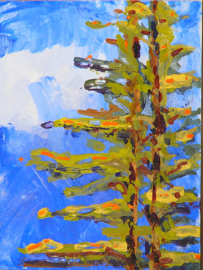 Blue Painting - Pine by Valerie Lynch
