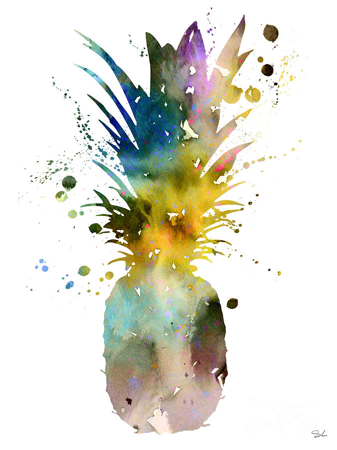 Art For Kitchen Painting - Pineapple 2 by Watercolor Girl