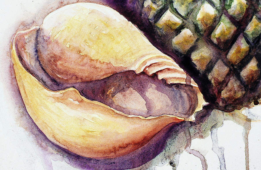 Watercolor Painting - Pineapple And Shell by Ashley Kujan